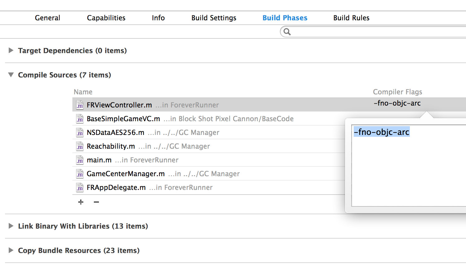 Disable ARC Compilation in Xcode for an iOS/Objective-C File