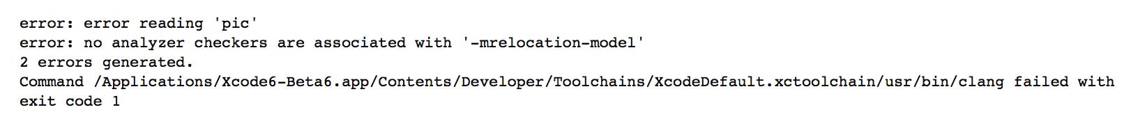 Error reading 'pic': Xcode6/cocoapods analyzer error