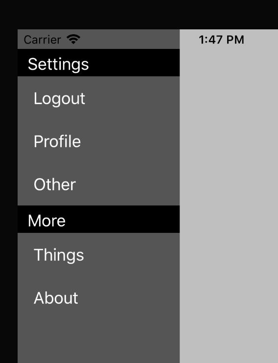 iOS slide in menu